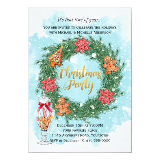 Cookies and Poinsettia Wreath Christmas Party Card