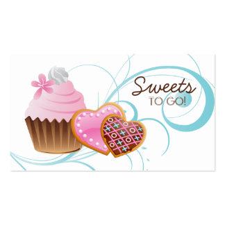 Cookies Cupcake Bakery Cute Swirl Modern blue Business Card Template