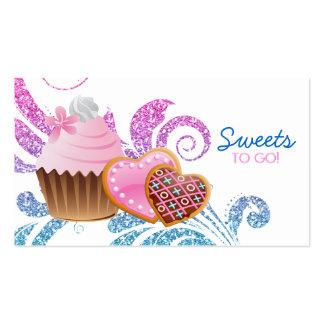 Cookies Cupcake Bakery Cute Swirl Modern glitter Business Cards