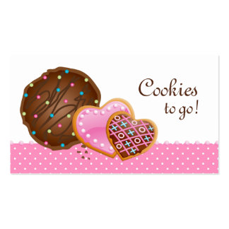 Cookies Donut Bakery Cute Polka Dots Modern pink Business Card