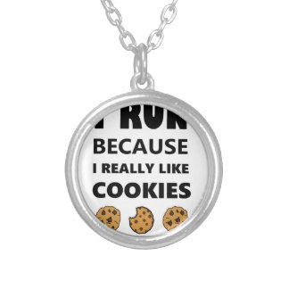 Cookies for health, Run running Silver Plated Necklace