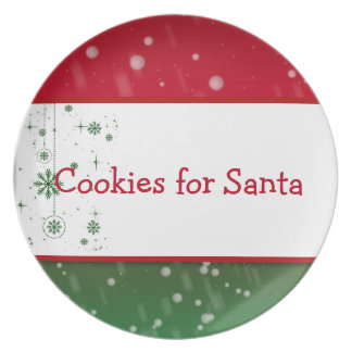 Cookies for Santa Plate - Red Green Falling Snow