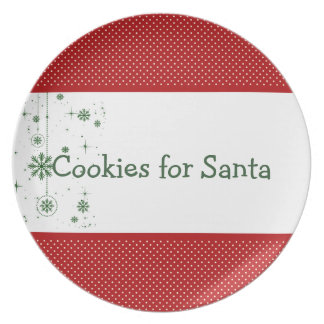 Cookies for Santa Plate - Red Green Polka Dots
