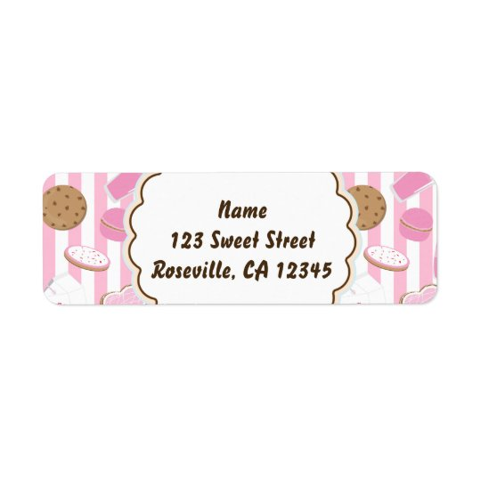Cookies & Milk Pink Girls Party Address Label