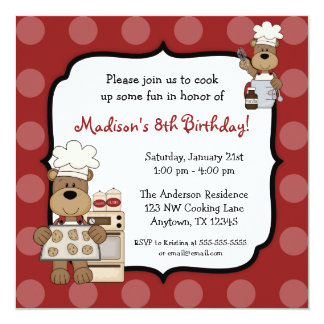 Cooking Bears Kids Birthday Party Card