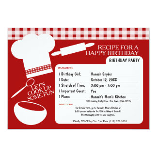 Cooking Birthday Party Recipe Card