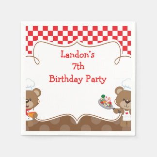 Cooking Chef Bear Birthday Party Paper Napkins
