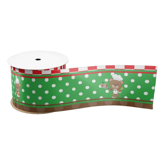 Cooking Chef Bear Birthday Party Satin Ribbon