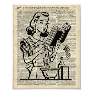 Cooking Girl Illustration over Old Book Page Photo Print