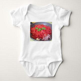 Cooking homemade tomato sauce baby bodysuit