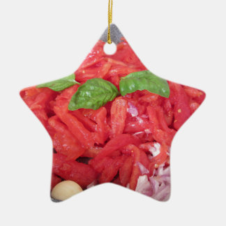 Cooking homemade tomato sauce ceramic ornament