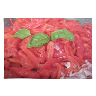 Cooking homemade tomato sauce placemat