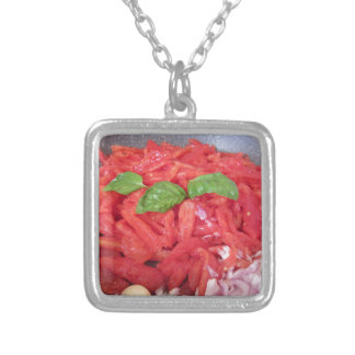 Cooking homemade tomato sauce silver plated necklace