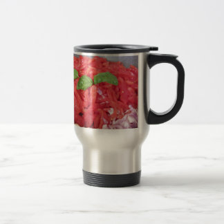 Cooking homemade tomato sauce travel mug