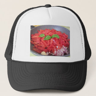 Cooking homemade tomato sauce trucker hat