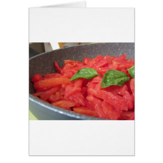 Cooking homemade tomato sauce using fresh summer t card