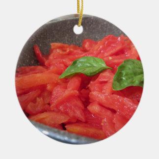Cooking homemade tomato sauce using fresh summer t ceramic ornament