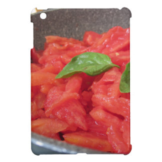 Cooking homemade tomato sauce using fresh summer t iPad mini case