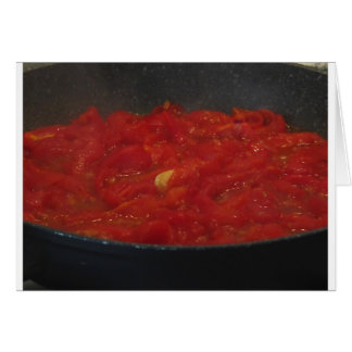 Cooking homemade tomato sauce using fresh tomatoes card
