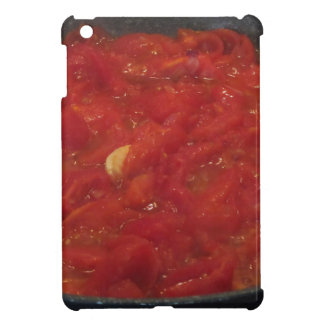 Cooking homemade tomato sauce using fresh tomatoes case for the iPad mini