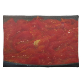 Cooking homemade tomato sauce using fresh tomatoes placemat