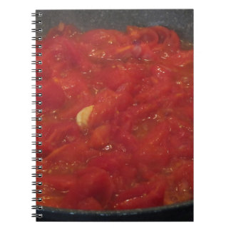 Cooking homemade tomato sauce using fresh tomatoes spiral notebook
