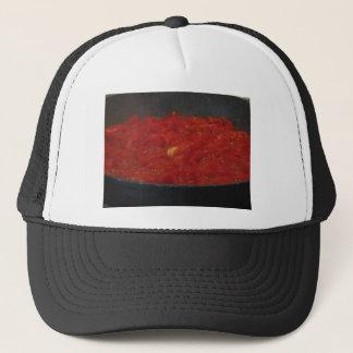 Cooking homemade tomato sauce using fresh tomatoes trucker hat