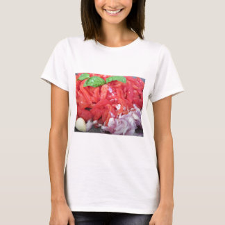 Cooking homemade tomato sauce using tomatoes T-Shirt