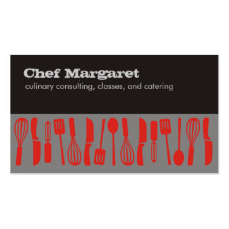 Cooking kitchen utensils chef business cards