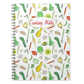Cooking Notes Fresh Vegetables Watercolor Drawing Notebook