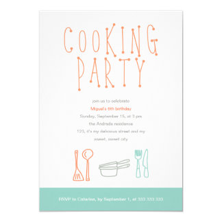 Cooking Party Birthday Kitchen Utensils Doodle 6th Card