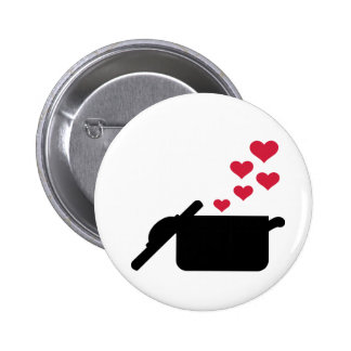 Cooking pot red hearts 2 inch round button