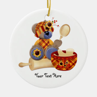 Cooking TeddyBear Ceramic Ornament