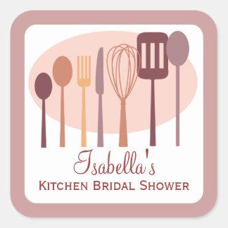 Cooking Utensils Kitchen Bridal Shower | Pink Square Sticker