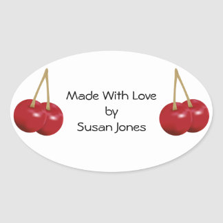 Cooking With Cherries Oval Sticker
