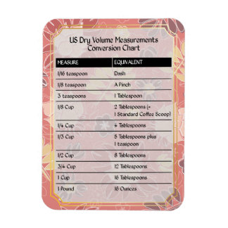 Cook's Helper-Dry Volume Measure Chart Magnet #6
