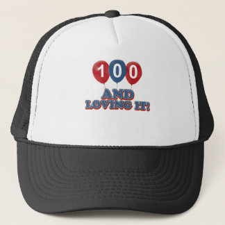 Cool 100 year old birthday designs trucker hat