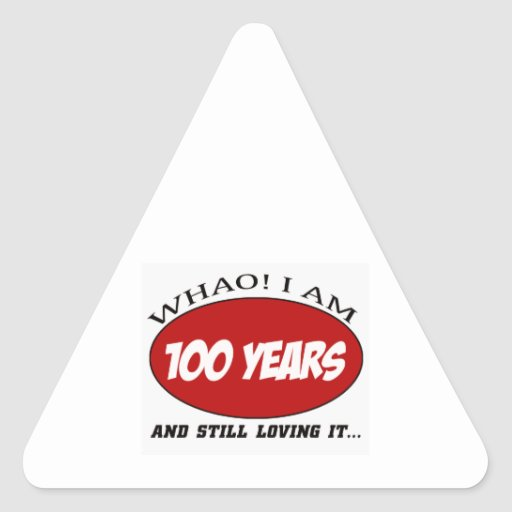 cool 100 years old birthday designs triangle stickers