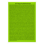Cool 101 Things You Did Not Know (Lime Neon) Poster