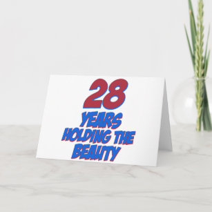 Cool 28 Years Old Birthday Designs Card