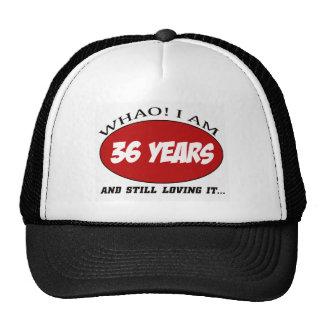cool 36 years old birthday designs trucker hats