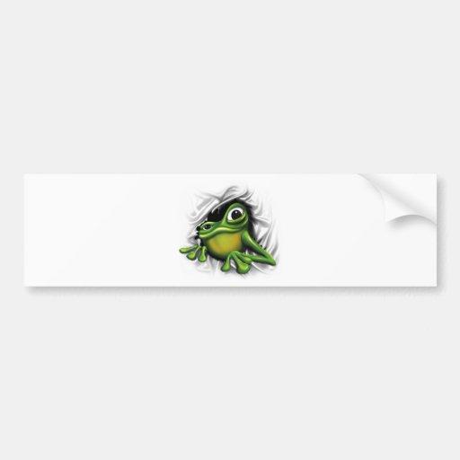 Cool 3d frog bumper sticker