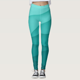 Cool 3D Geometric Teal Abstract Leggings