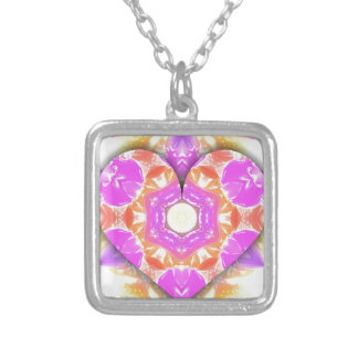 Cool 3d Heart lavender Peach Patterns Silver Plated Necklace