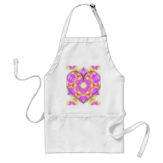 Cool 3d Heart lavender Peach Patterns Standard Apron