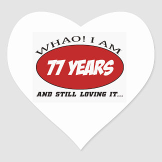 cool 77 years old birthday designs heart sticker