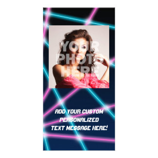 Cool 80s Laser Light Show Background Retro Neon Card