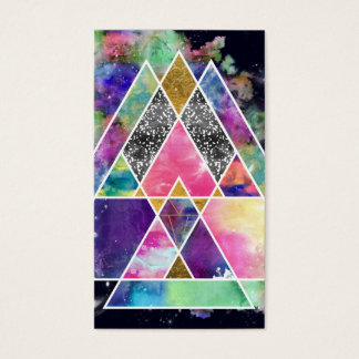 Cool abstract geometric triangles watercolor business card