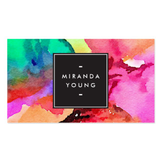 Cool Abstract Multi-color Watercolors Modern Pack Of Standard Business Cards