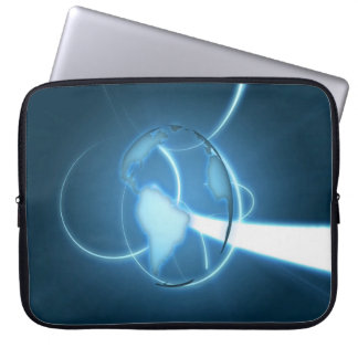 COOL ABSTRACT PLANET EARTH CYAN LAPTOP COMPUTER SLEEVE